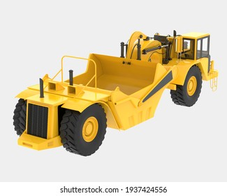 Wheel tractor scraper isolated on background. 3d rendering - illustration