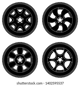 Wheel with tyres. Black icons set. Illustration isolated on white background. Raster version