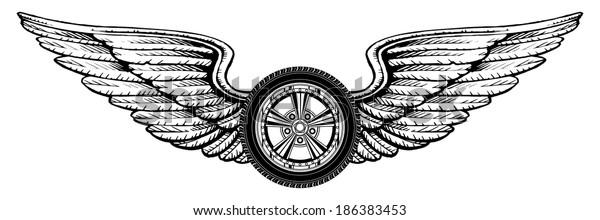 Wheel Wings Illustration Wheel Wings Design Stock Illustration