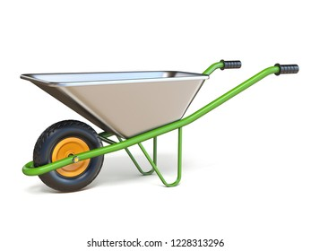 Wheelbarrow with green handles 3D render illustration isolated on white background