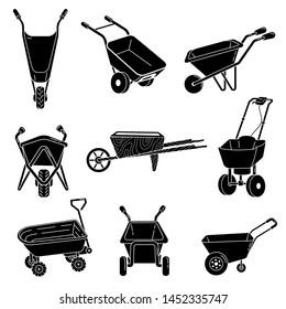 Wheelbarrow icons set. Simple set of wheelbarrow icons for web design on white background