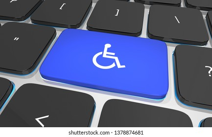 Wheelchair Disabled Person Symbol Disability Computer Keyboard Button Key 3d Illustration
