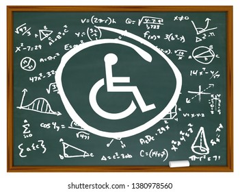 Wheelchair Disabled Person Symbol Disability Chalkboard Equations Formulas Ideas 3d Illustration