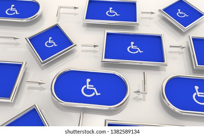 Wheelchair Disabled Person Symbol Disability Process Map Procedure Workflow 3d Illustration