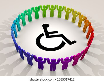 Wheelchair Disabled Person Symbol Disability People Support Group 3d Illustration