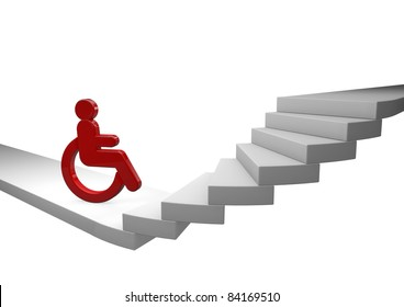 Wheelchair driver waiting helplessly in front of a staircase