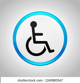 Wheelchair handicap icon isolated on round blue push button