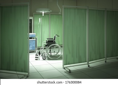 Wheelchair in hospital room - high quality render