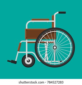 Wheelchair in the hospital. Vehicle for disabled people. Healthcare, hospital and medical diagnostics. Urgency and emergency services. illustration in flat style