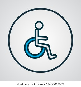 Wheelchair icon colored line symbol. Premium quality isolated disabled sign element in trendy style.