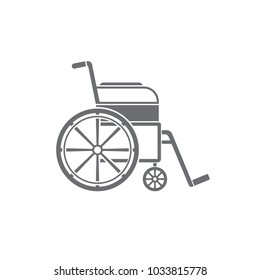 Wheelchair medical icon. Illustration. Black icon wheelchair on a white background. Wheelchair isolated. Disabled icon. Wheelchair sign. Handicap icon.