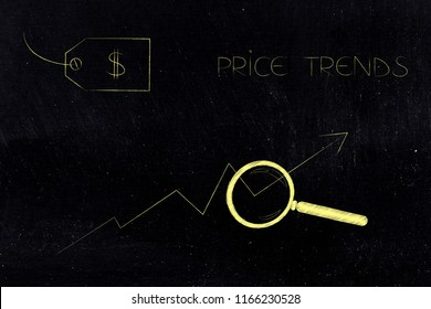 where is the best deal conceptual illustration: price tag with magnifying glass analysing price trend stats and caption