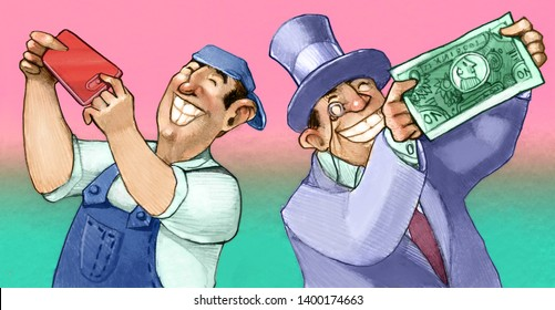 while a worker takes a selfie with his cell phone a rich man does the same but with a banknote  allegory  of profit in the telecommunications industry