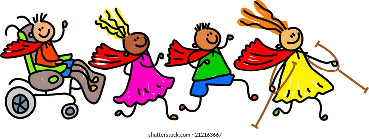 Whimsical cartoon illustration of a group of happy disabled children wearing super hero capes and playing together.