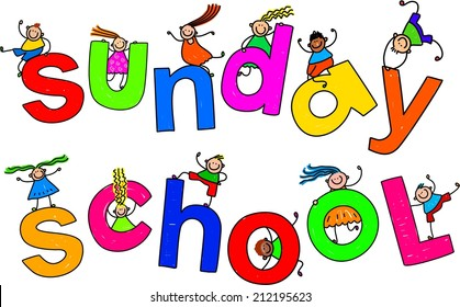 Whimsical cartoon illustration of a group of happy and diverse children climbing over the giant words SUNDAY SCHOOL.