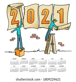 Whimsical drawing to bring in the 2016 new year  for web or print use