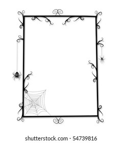 Whimsical Goth or Halloween frame with thorny curlicues and spiders