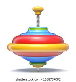 Whirligig top 3D render illustration isolated on white background