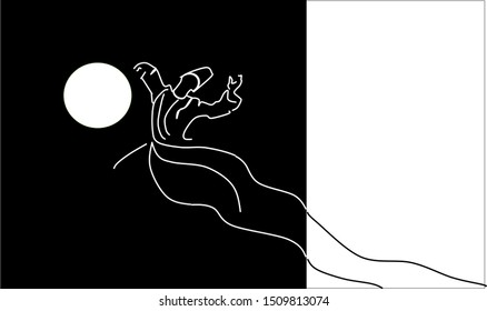 Whirling dervish with the Moon. Day and night. Sufi religious dance. The painting is divided into black and white color as day and night. Illustration, background.