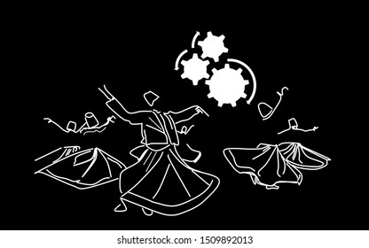 Whirling dervishes.  Whirling motion as a single mechanism. Sufi religious dance.