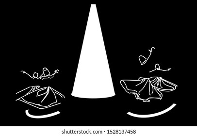 Whirling dervishes. Sufi religious dance. Illustration, background.