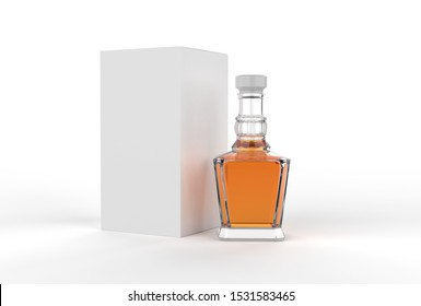 Whisky bottle with paper box packaging for branding. 3d render illustration.