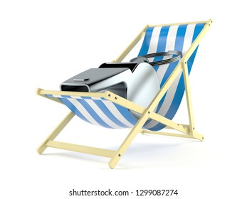 Whistle on deck chair isolated on white background. 3d illustration