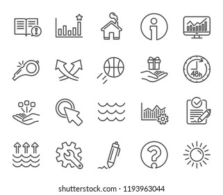 Whistle, Waves and Sun line icons. Customisation, Global warming and Question mark signs. Signature Rfp, Information and Efficacy symbols. Gift, Consolidation and Operational excellence. Waves concept