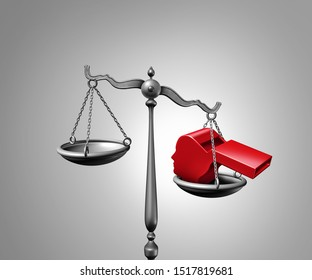 Whistleblower law or anonymous whistle blower justice concept as a symbol of exposing corruption or misconduct and impeachment inquiry with a red whistling object shaped as a 3D illustration.