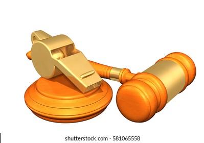 Whistle-Blower Law Legal Gavel Concept 3D Illustration