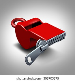 Whistleblower silence concept or intimidation symbol and whistle blower silenced to stay quiet as pressure to expose corruption as a red whistler with a closed zipper.