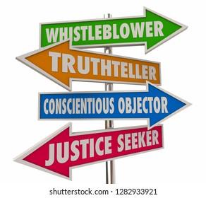 Whistleblower Words Signs 4 Arrows 3d Illustration