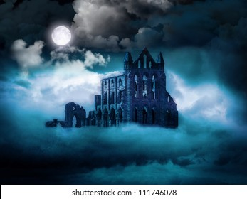 Whitby Abbey, North Yorkshire Coast, UK in Moonlight and Fog