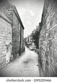 """Whitby, North Yorkshire A decorative atmospheric image of a backstreet symbolising the feel of this old fishing port famous for it's connection with Bram Stoker's book """"Dracula"""""""
