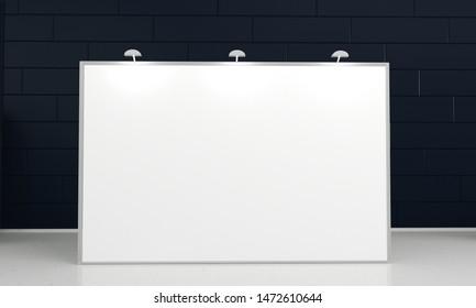 White 2x3 meters backdrop mockup in room. 3d render illustration