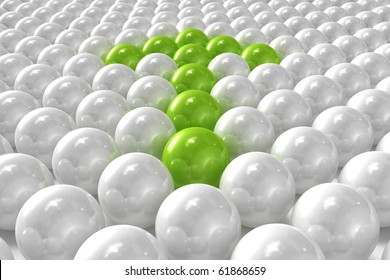 White 3D balls with green ones forming an arrow