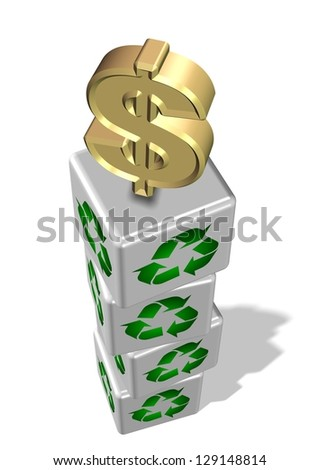White 3 D Cubes Recycling Symbol On Stock Illustration 129148814