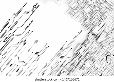 White 3d hi tech pattern with futuristic circuit grid line patterns.3d illustration and rendering.