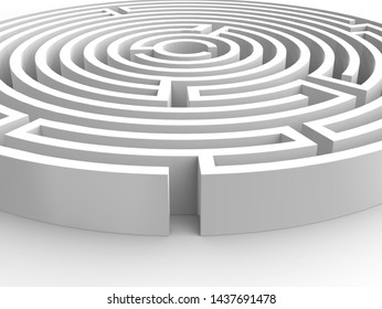 White 3D illustration maze, labyrinth on the white background. Entrance into a mysterious white maze. Target maze, business and life choices concepts.