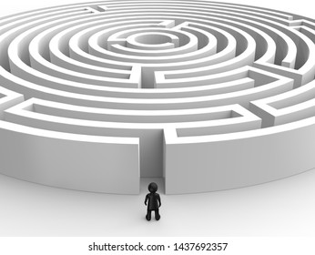 White 3D illustration maze, labyrinth on the white background. Tiny little man human entering  into a mysterious white maze. Target maze, business and life choices concepts.