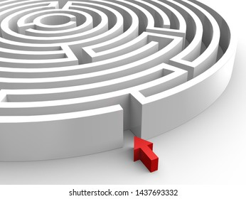 White 3D illustration maze, labyrinth with red arrow on the white background. Entering  into a mysterious white maze. Target maze, business and life choices concepts.