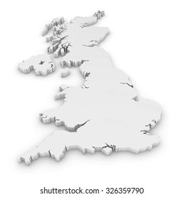 White 3D Outline of the United Kingdom Isolated on White