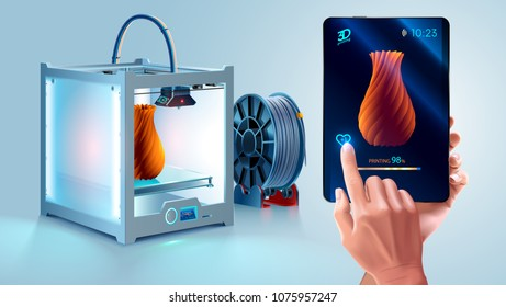 White 3d printer with filament spool. 3d printer printed vase. Maker hold tablet in hand. Mobile interface with 3d model. Tablet showing progress printing 3d model. Additive technology for hobby, diy
