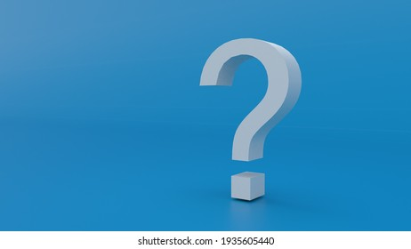 White 3d question mark, isolated on Blue background. Clean Template for corporate Presentation. 3d Render.
