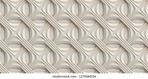 White 3D relief tiles wicker form with golden scuffs. High quality seamless realistic texture.