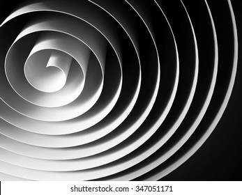 White 3d spiral made of paper tape with dark shadows over black background, abstract digital illustration