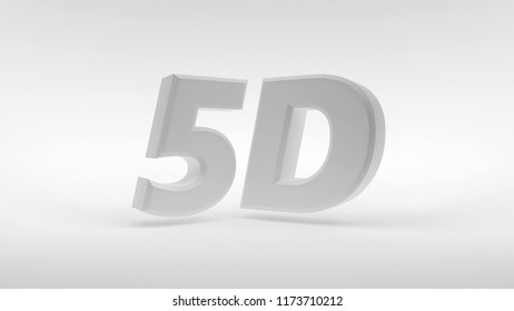 White 5D logo isolated on white background with reflection effect. 3d rendering.