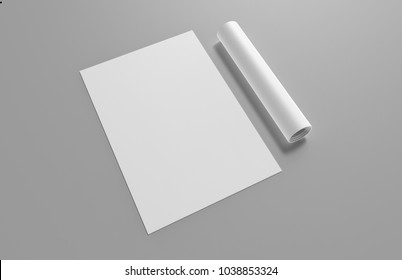 White A3 Poster with rolled on grey background, 3d illustration.