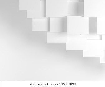 White abstract background with white boxes.