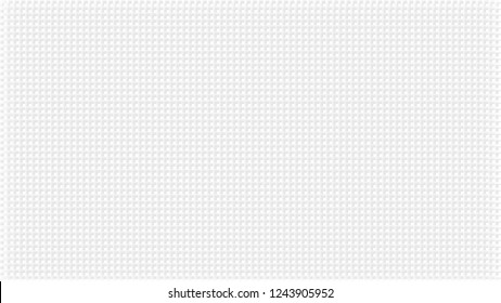 White abstract background with checks texture. Pale grey waffers effect. Wide screen pattern, in frame, in vector.